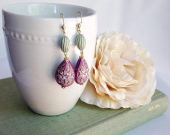 Bead earrings, boho chic earrings, aqua and purple, dangle earrings, bohemian jewelry, western earrings, gold filigree scroll earrings