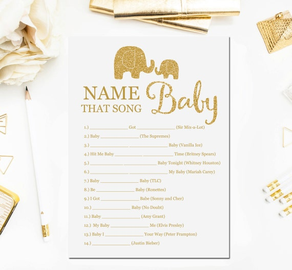 Elephant Baby Shower Games Name That Song Game Baby Songs