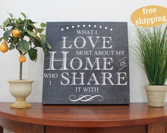 What I love most about my home is who I share it with, canvas, family, marriage, farmhouse decor, chalkboard inspired, 12x12, 16x16, 20x20