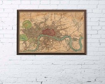 """Antique map of London - Fine archival reproduction - Large wall map of London , up to 35 x 54 """""""