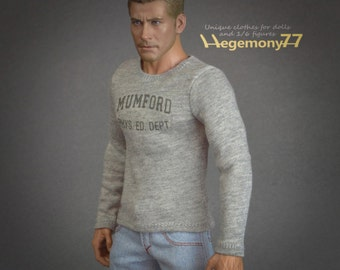 1/6th scale Beverly Hills Cop Axel Foley inspired grey Mumford long sleeves T-shirt for: action figures and male fashion dolls