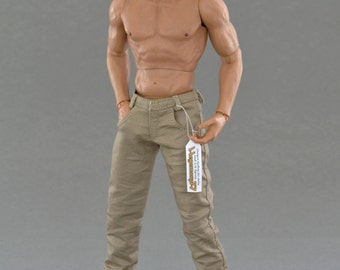 1/6th scale beige / khaki - trousers / pants for: regular size 12 inch collectible movable action figures