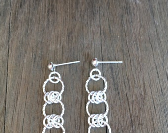 Silver Three Ring  Earrings with post