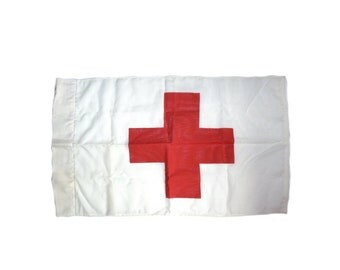 Vintage Red Cross Flag Red Cross Marker Red Cross Medical Symbol Flag Hospital Flag Medic Vintage Red Cross