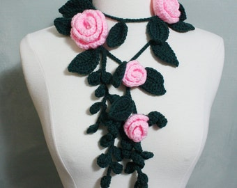 Lovely Crochet Lariat/ Necklace with Flowers