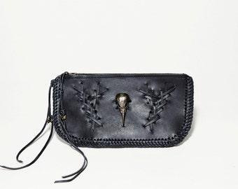 Handstitched Sparrow Skull Leather Wallet