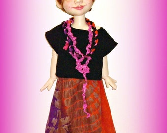 """Handmade Doll Clothes fit 19"""" BJD by Kim Arnold, """"Maxi!"""" 3 Piece Outfit for Trinket Box Kids Dolls, Multicolor Tie Dye Maxi Skirt, Top, Belt"""