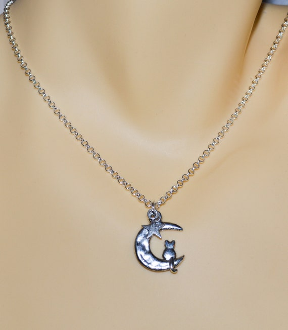 Cat Necklace, Cat on the Moon Charm, Moon Jewelry, Crescent Moon Necklace, Cat Jewelry, Cat Lover Jewelry, Cat in the Moon, Quirky Jewelry