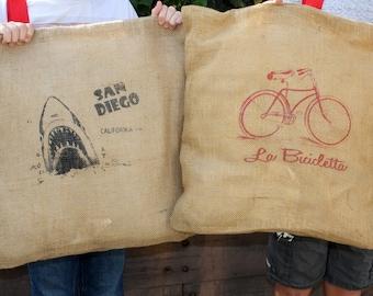 Burlap Screen Printed Pillows / Outdoor Pillow / San Diego Upcycled Burlap 20 x 20 pillow SALE!