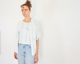 80s Pastel Geometric Button Blouse with Tank