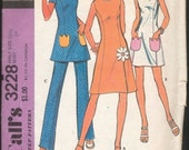 Cute Mod Vintage 1970s McCall's 3228 A-line Dress or Tunic with Flower Pockets and Applique and Pants Sewing Pattern B39 W33