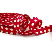Polka Dot Red and White Bias Tape Double Fold- Half Inch