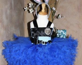Deluxe Judy Hopps Inspired Zootopia Halloween Costume, Bunny Halloween Costume Plush Ears Headband, Toddler, Big Girls Costume 3T 4T 5 6 7 8