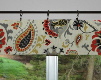 """Kitchen Valance . Mini Valance  8""""x 52"""" . Waverly Siren Song . Majestic Graphite.  Paisley Design .  Use Ring Clips or Slide on Curtain Rod"""