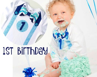 First Birthday Boy  Chevron Blues  Bow Tie and Suspenders  All In One One Piece Bodysuit