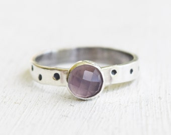 Sterling Silver and Pink Chalcedony Ring - Sterling Silver - Size 6.5  - Faceted Gemstone -  Checkerboard Cut  - Gift For Her - Hand Stamped