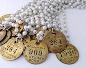 Number Necklace, Tool Tag, Movie Ephemera, Pearl Necklace, Recycled Jewelry, Upcycled Jewelry, Industrial Jewelry, Number Jewelry, belmonili
