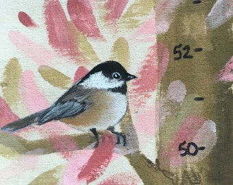 Growth Chart, Tree Grow Chart, Hand Painted Fabric Banner Growth Chart, Pink Brown Chickadees, #GC118