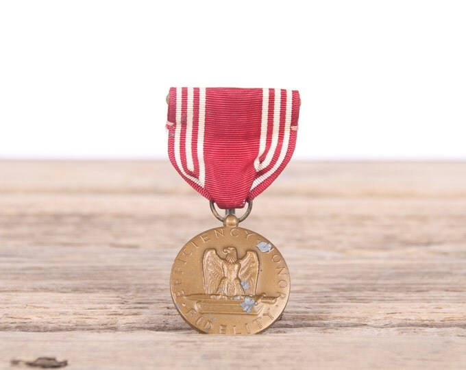Vintage WWII US Army Good Conduct Medal / Efficiency, Honor, Fidelity / Old Military Collectible / Red US Army Medal / Military Gift