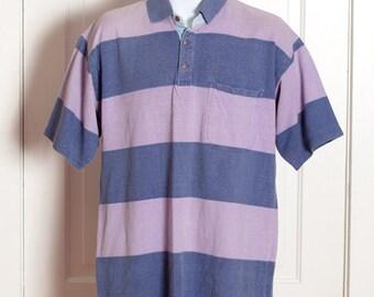 Vintage 90s Horizontal Stripe Polo - purples