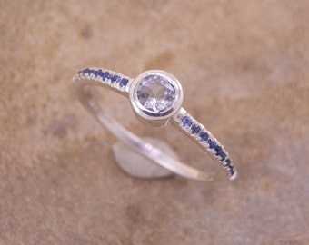 White Topaz and Sapphire Ring Custom made in Choice of Sterling Silver or Karat Gold - Topaz Solitaire - Topaz & Sapphire