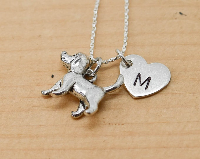 Poodle Necklace, Dog Charm, Dog Pendant, Initial Necklace, Personalized Necklace, Sterling Silver Necklace, Charm Necklace, Bridesmaid Gift