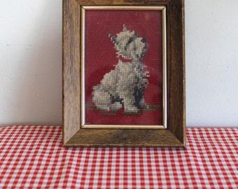 vintage needlepoint art - WHITE SCOTTIE framed wall decor