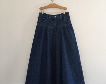 Vintage 80's Denim Full Skirt / Western Style Midi Jean Skirt S M 27