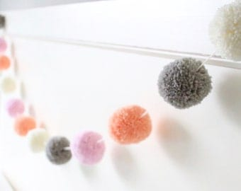 PINK + PEACH + GREY pom pom garland - a very sweet + girly pom pom garland with twelve pom poms
