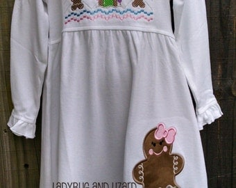 Gingerbread House and Girl Long Sleeve Empire Waist Dress 12M-18M, 2T-3T, 4-6