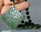 Vintage Jewelry Long Beaded Jade Necklace With a Carved Green Jade Pendant 34 inches Knotted Between the Beads DanPickedMinerals