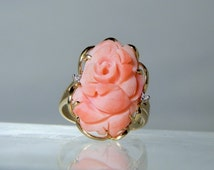 Vintage Carved Natural Salmon Coral and Accent Diamond 14k Yellow Gold RIng Size 7.25 Rose Design Fine Quality Jewelry DanPickedMinerals