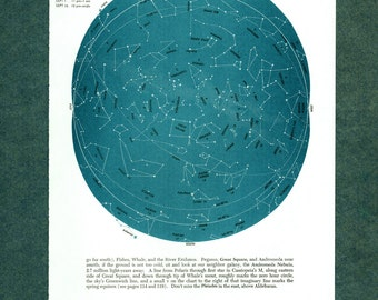 1960 star map astronomy star atlas map 10 original WHALE WATER CARRIER vintage zodiac chart map of stars constellation stargazing