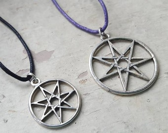 Seven Pointed Faery Star Septagram Necklace - Choose Size & Color Cord