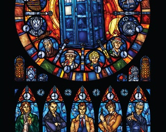 Half Sized Print - Dr. Who Stained Glass Illustration