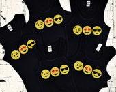 Girl's Emoji Shirts - Tween Teen Little Girls Tank Trendy Tops - Glitter Sparkle Heart Eyes Sunglasses Wink