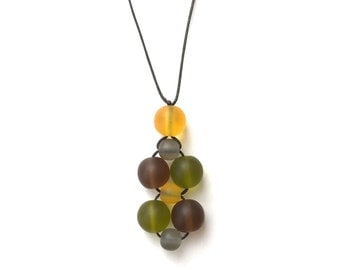 SALE - Nursing Necklace/ Breastfeeding Necklace - Twiddle Cluster - Autumnals - Mustard, Brown, Grey, Olive Green