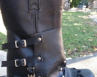 Black Leather Spat | Motorcycle Boot Spat | Studded Biker Spat | Studded Spat | Mens Boot Spat | Boot Cover | Boot Decoration