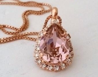 Rose gold Blush necklace,Blush teardrop necklace,Blush bridal necklace,Blush bridesmaid necklace,Swarovski necklace,pendant necklace