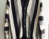 Vintage Mens Sweater Wool Sweater 1950s Black White Gray Striped Cardigan