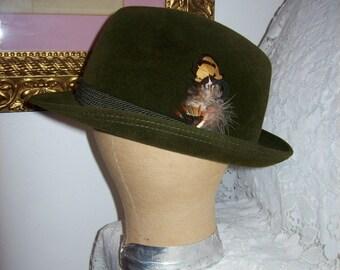 Vintage Traditional Austrian Bavarian Green Felt Tyrolean Fedora Hat Only 40 USD