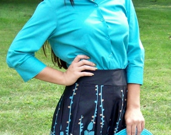 99 CENT SAlE Vintage 90s Ladies Turquoise Blue Blouse by George Small Now .99 USD