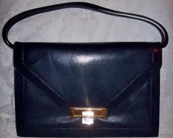 Vintage Ladies Navy Blue Leather Shoulder Bag Purse by Lou Taylor Only 9 USD