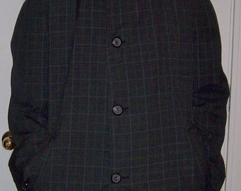 Vintage 1950s Men's Plaid Top Coat Raincoat by Rainfair Large Only 15 USD