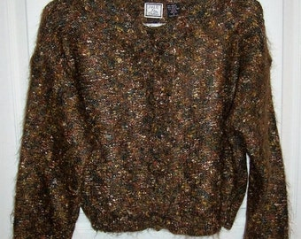 Vintage 80s Ladies Brown Mohair Cropped Cardigan Sweater by Paul et Duffier Only 6 USD