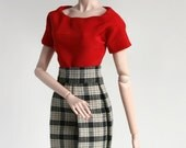 Red blouse and plaid skirt for Barbie Silkstone Fashion Royalty Dolls