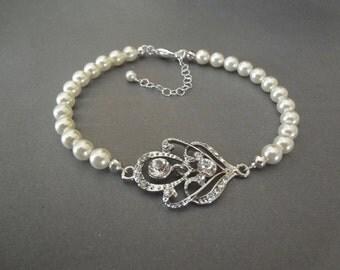 Pearl and crystal bracelet ~ Wedding bracelet ~ Swarovski ~ Crystal bracelet ~ Brides bracelet ~ Bridal jewelry ~ Pearl bracelet ~ RACHEL