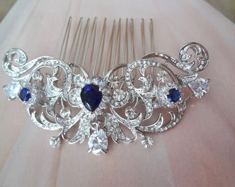 Blue sapphire hair comb~ Brides hair comb ~ Wedding hair comb, Hair Jewelry ~ Something blue hair comb, Wedding accessories ~KATE