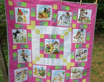 Pink Duck baby girl toddler storybook quilt