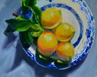 LEMONS ON DELFT , Art Print, Lemons, blue porcelain, gift for mom, gift for her, Christmas gift